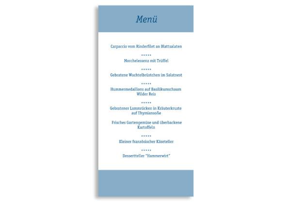 Rückseite, Menükarte zur Hochzeit (DIN Lang-Karte, zweiseitig), Motiv Klassik, Farbversion: blau