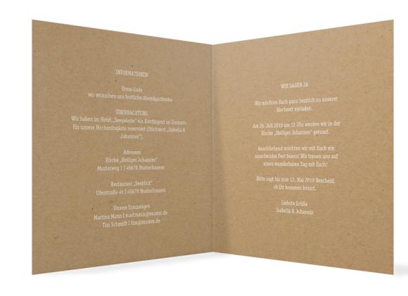 Einladung Hochzeit (quadratische Klappkarte, Kraftpapier), Motiv: Gent Natural, Innenansicht, Farbvariante: weiss