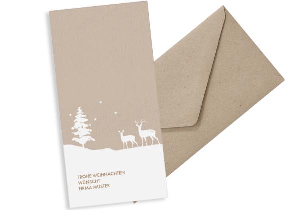 Postkarte DL hoch, Motiv: Winterlandschaft FW, mit Briefhülle, Farbvariante: beige