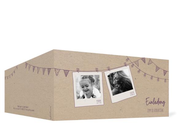 Einladungskarten Geburtstag (Klappkarte DL quer - 2 Fotos), Motiv: Lebensweg, Aussenansicht, Farbvariante: aubergine
