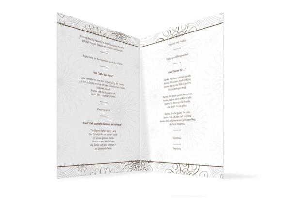 Innenansicht, Klappkarte zur Hochzeit (Kirchenheft), Motiv Mandala, Farbversion: beige