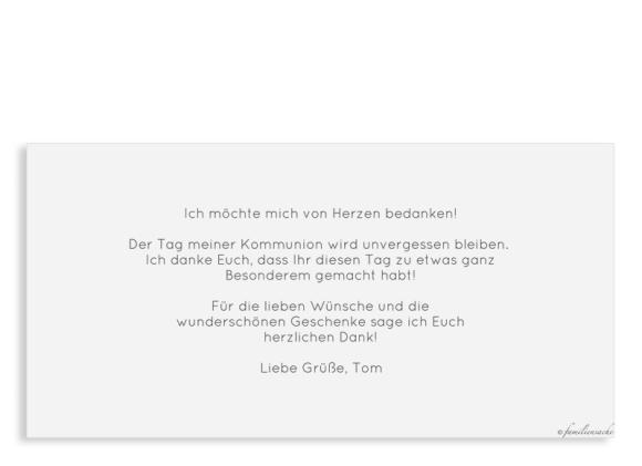 Danksagung Kommunion (Postkarte DL mit Fotos), Motiv: Weg, Rückseite, Farbvariante: hellblau