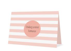 Einladungskarten zur Kommunion Lucky Stripes Apricot