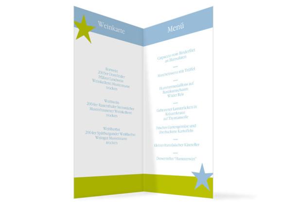 Innenansicht, Menükarte zur Hochzeit (Klappkarte), Motiv New York, Farbversion: blau-gruen