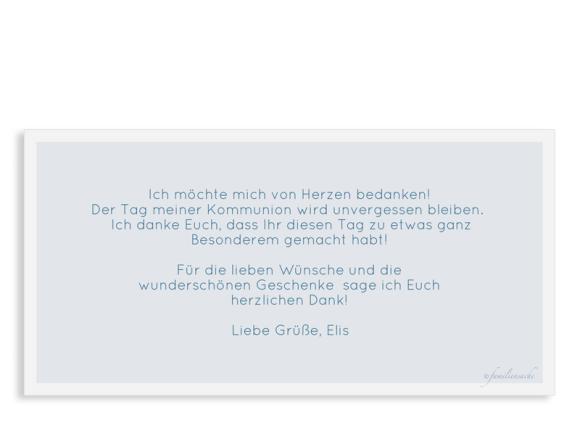 Kommunion Danksagung (Postkarte DL quer mit Fotos), Motiv: Bedeutung, Rückseite, Farbvariante: dunkelblau