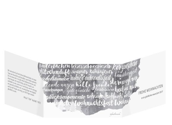 Weihnachtskarten Skript in schwarzgrau, Außenansicht
