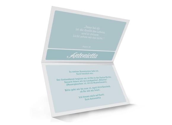 Einladungskarte zur Kommunion (Klappkarte unten geöffnet), Motiv: Lucia / Luca, Innenansicht, Farbvariante: eisblau