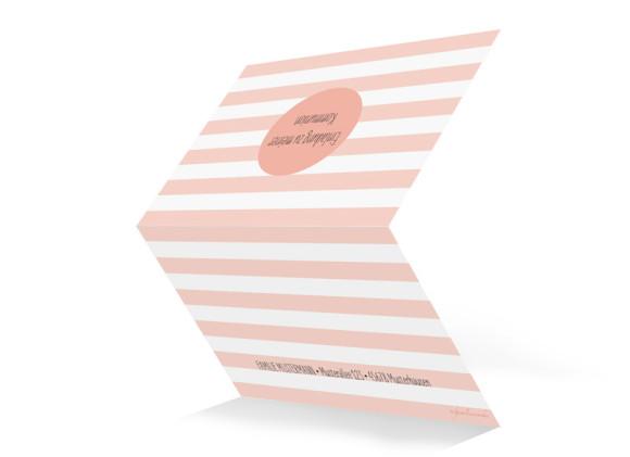 Einladung zur Kommunion, Motiv Lucky Stripes, Aussenansicht, Farbversion: apricot
