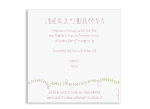 Kommunionseinladung (Postkarte quadratisch), Motiv: Lorbeerblatt, Rückseite, Farbvariante: altrosa
