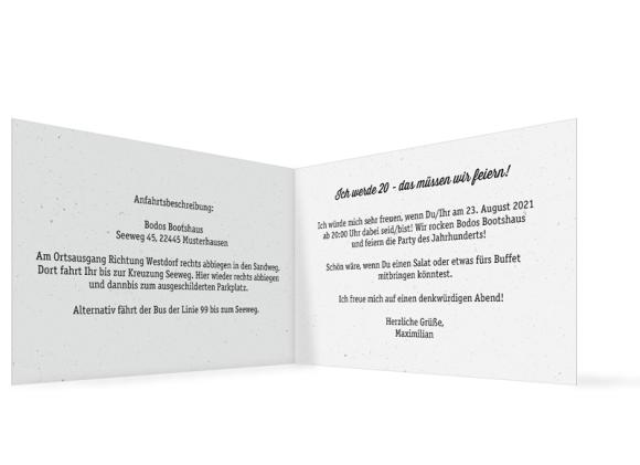 Einladung (Klappkarte A6 - quer), Motiv: Kassette, Innenansicht, Farbvariante: beige