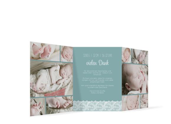 Karten zur Geburt (Leporello 2-fach gefalzt), Motiv: Elisabeth/Emanuel, Rückseite, Farbvariante: blaugruen