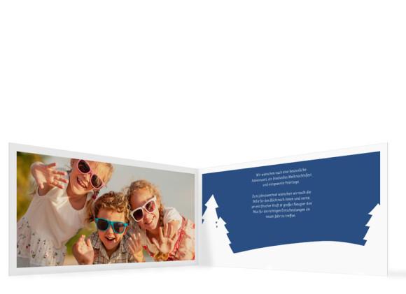 Weihnachtskarte Stille Nacht, Innenansicht in der Farbversion: dunkelblau-gold