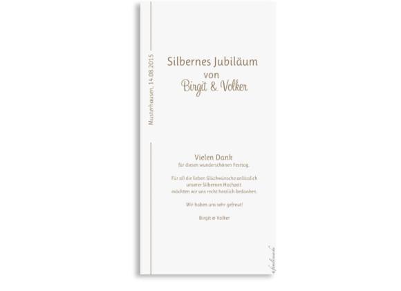 Rückerseite der Dankeskarte zur Silberhochzeit Boston, Farbversion: beige