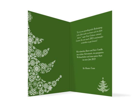 Innenansicht, Weihnachtskarte Weihnachtsbaum für Firmen, Farbversion: grün