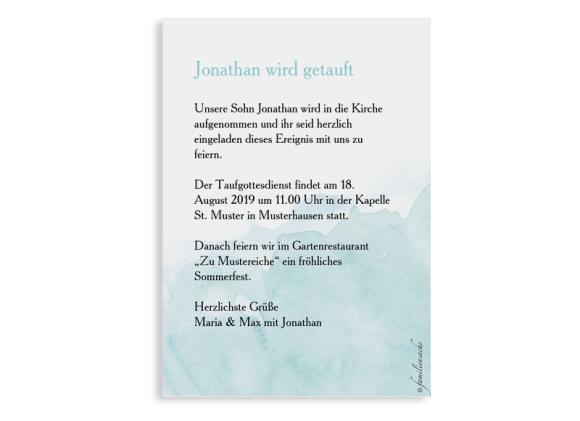 Taufeinladung Fisch (Postkarte A6 hoch), Motiv: Fisch, Rückseite, Farbvariante: aqua