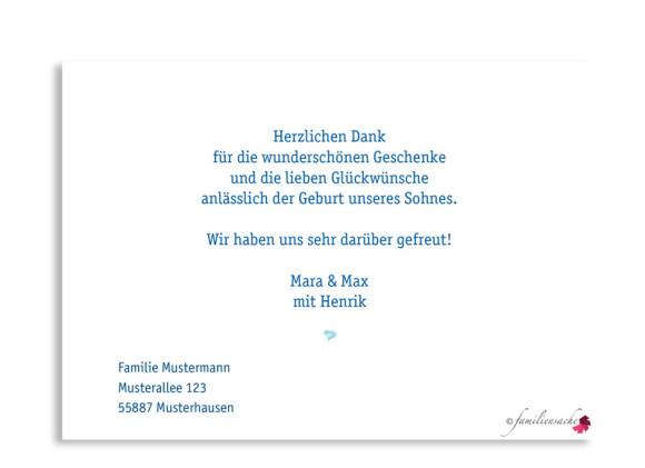 Geburtskarten, Motiv Hanna/Henrik ohne Fahne, Rückseite, Farbversion: blau