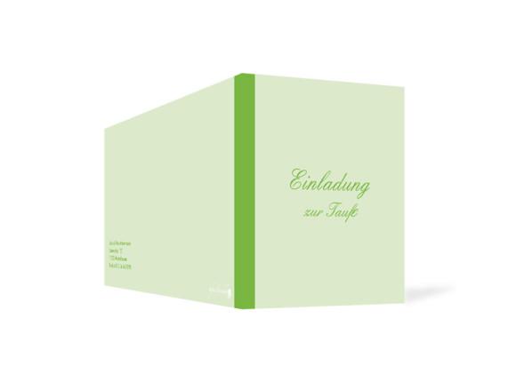 Außenansicht, Klappkarte zur Taufe (Format DIN Lang), Motiv Simone/Simon, Farbversion: grün