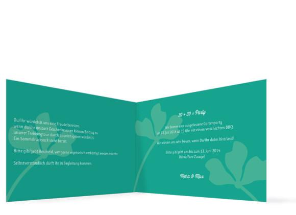 Einladungen zum Geburtstag Growing Fresha ohne Foto, Innenansicht der Farbversion: grün/türkis