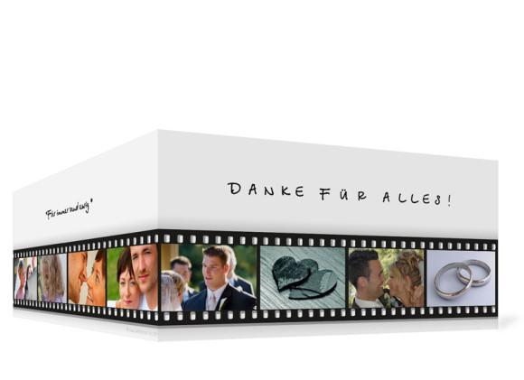 Außenansicht, Danksagungs-Klappkarte zur Hochzeit (Format DIN Lang), Motiv Hollywood, Farbversion: schwarz-weiß