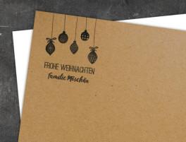 Christbaumkugeln Perlmutt.Weihnachtskarte Bäumchen Familiensache