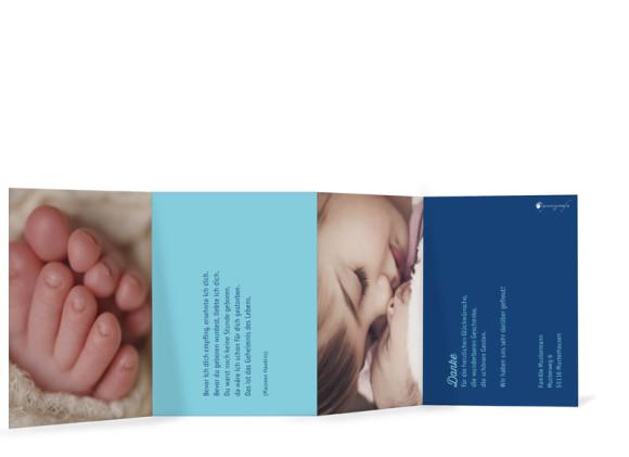 Geburtskarten Luna/Luke, Innenansicht der Farbversion: eisblau/blau
