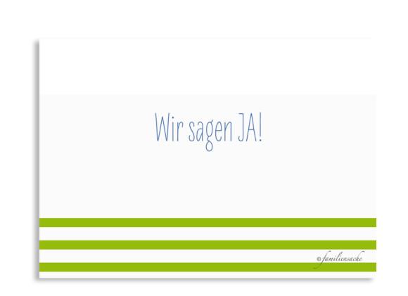 Save the Date Karten Düsseldorf, Rückseite der Farbversion: blau/grün