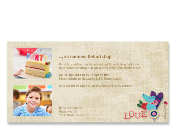 Rückseite, Einladungs-Postkarte zum Geburtstag, Motiv Dackel, Farbversion: beige