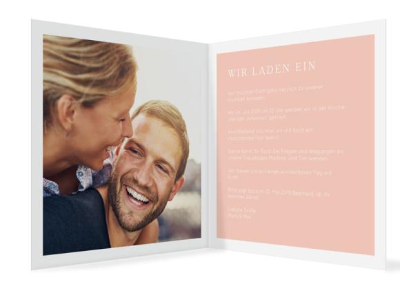 Hochzeitseinladungskarten (quadratische Klappkarte mit Foto), Motiv: Brisbane, Innenansicht, Farbvariante: apricot