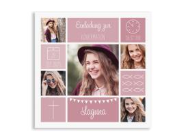 """Einladung zur Konfirmation """"Bildreich"""" (Quadratische Postkarte) altrosa"""