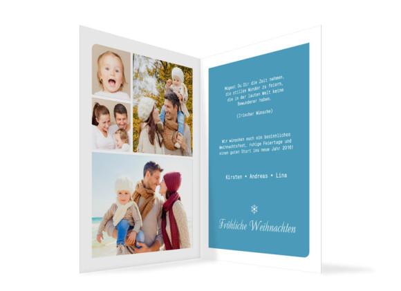 Weihnachtskarten Eiskristall, Innenansicht der Farbversion: blau