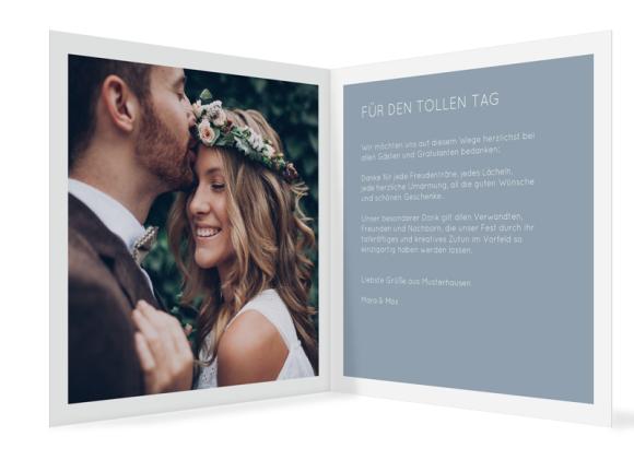 Hochzeitsdanksagung (quadratische Klappkarte mit Foto), Motiv: DS Salzburg, Innenansicht, Farbvariante: blau