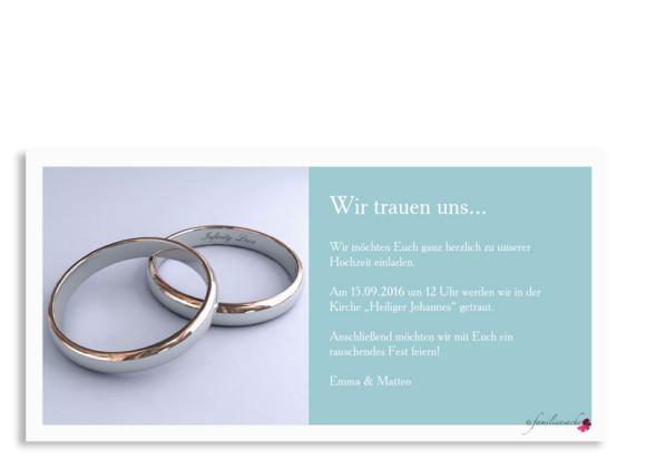 Hochzeitseinladung Nizza, Postkarte DL mit Foto, Rückseite, Farbversion: eisblau