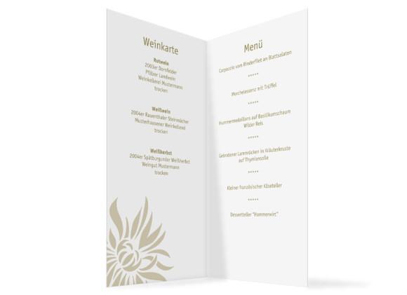 Innenansicht, Menükarte zur Hochzeit (Klappkarte), Motiv Florenz, Farbversion: beige