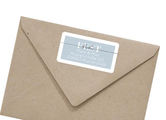 Adressetikett für Weihnachtspost , Motiv: Kartenformat, mit Briefhülle, Farbvariante: graublau