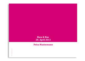 Windlicht Colour als Tischkarte zur Hochzeit Pink