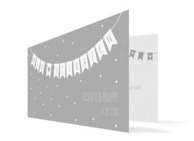 Hochzeitseinladung Wimpelkette mit Foto (Klappkarte DL) Grau