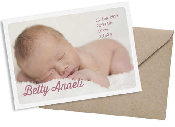 Babykarte (Postkarte A6, 1 Foto), Motiv: Betty/Boris, mit Briefhülle, Farbvariante: altrosa