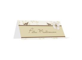 Tischkarten zur Hochzeit Oxford (Klappkärtchen quer) Beige/Braun