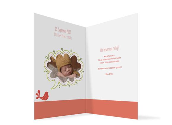 Geburtskarte, Motiv: Lenchen/Lenhard, Innenansicht, Farbversion: apricot