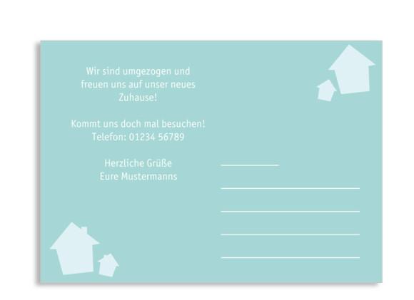 Umzugspostkarte, Motiv Haus, Rückseite, Farbversion: hellblau