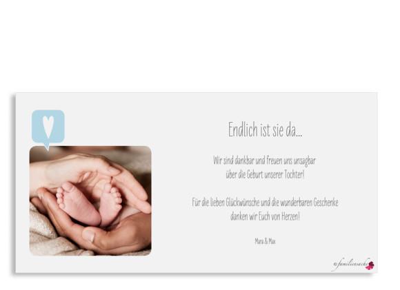 Babykarten Mathilda/Matteo, Postkarte (DIN Lang), Rückseite, Farbversion: flieder/hellblau