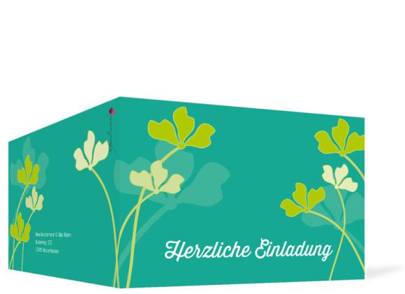 Geburtstagseinladungen Growing Fresha, Außenansicht der Farbversion: grün/türkis