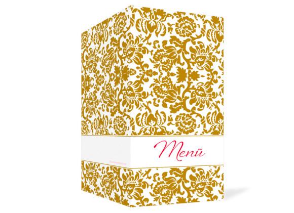 Außenansicht, Menükarte zur Hochzeit (Klappkarte), Motiv Barcelona, Farbversion: beige