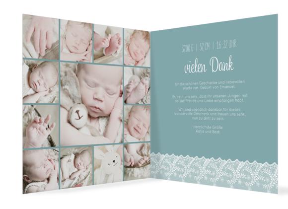 Geburtskarte quadr. (300 x 150 mm), Motiv: Elisabeth/Emanuel, Innenansicht, Farbvariante: blaugruen