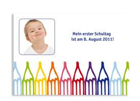 Einschulungskarte Stifte (Postkarte) Blau