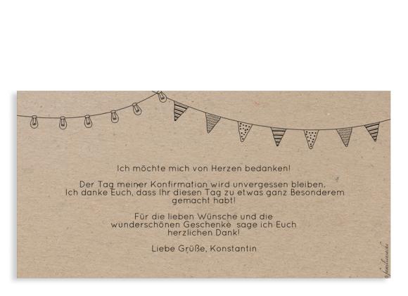 Konfirmationsdanksagung (Postkarte DL quer), Motiv: Wimpelchen, Rückseite, Farbvariante: schwarz