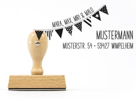Familienstempel Wimpel mit Adresse (personalisiert, 70 x 30 mm, Holzstempel)