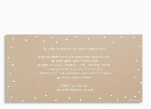 Weihnachtspostkarte Weihnachtskette DIN Lang, Rückseite in weiß