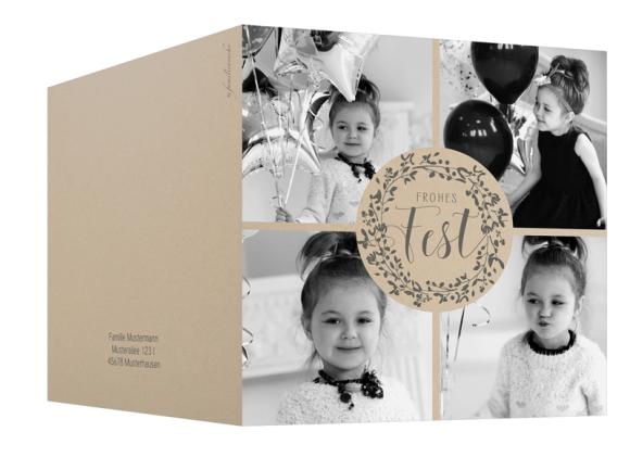 Quadratische Klappkarte zu Weihnachten, Motiv: Mistelkranz, Aussenansicht, Farbvariante: grau