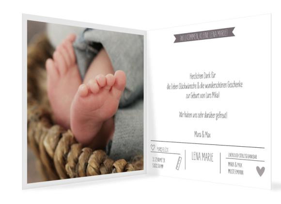 Geburtskarte Lena/Lars, quadr. Klappkarte, Innenansicht in taupe